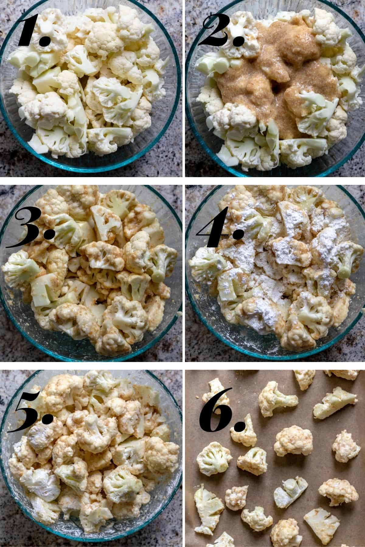 Step by step process showing how to prepare the cauliflower florets.