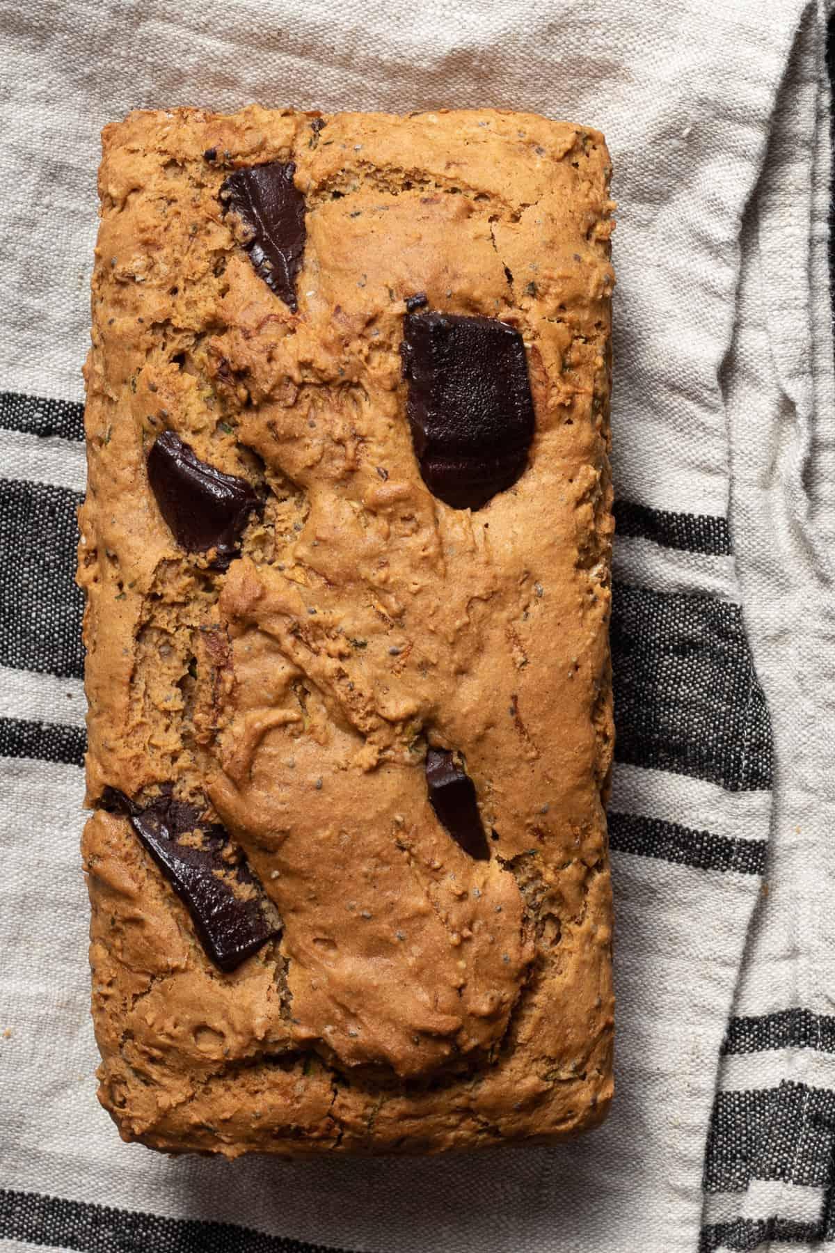 vegan zucchini loaf after baking