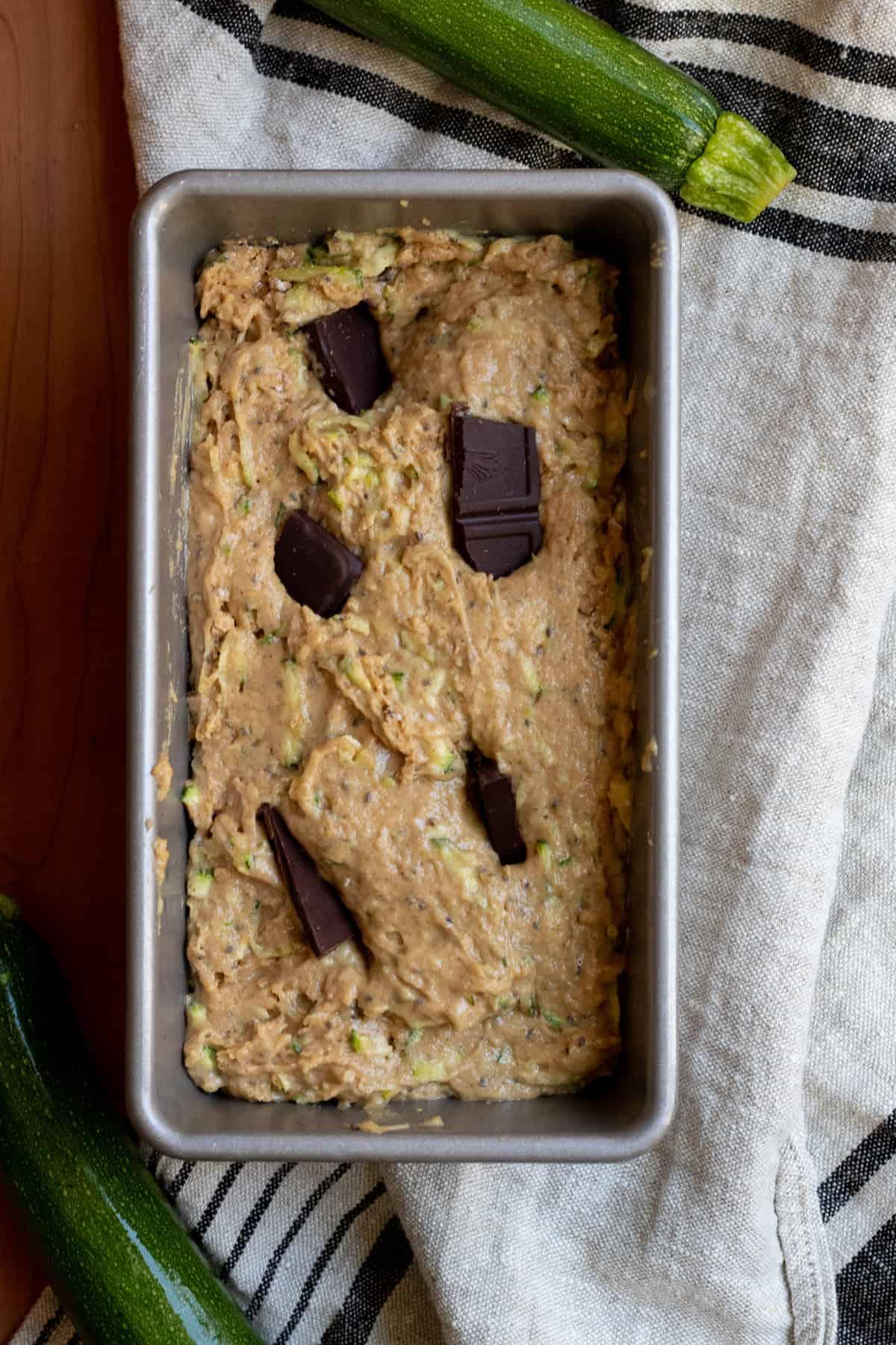 vegan zucchini bread before baking