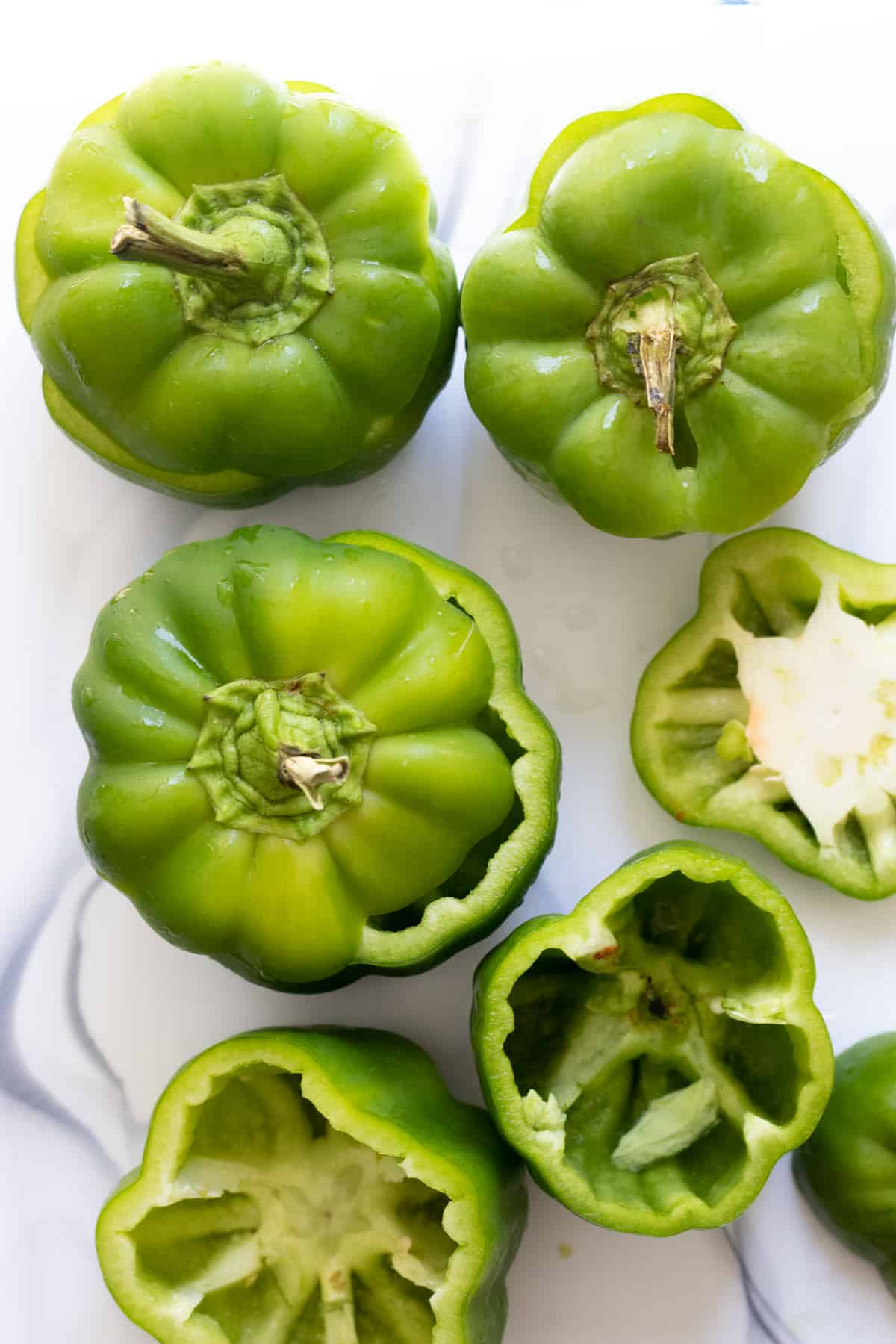 green bell peppers with seeds and ribs removed