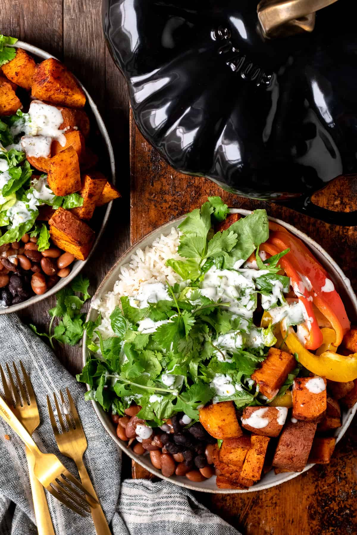 burrito bowls with beans and sweet potato