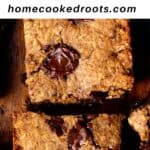 Cookie bars on wood board with blue ribbon and white and black text overlay.