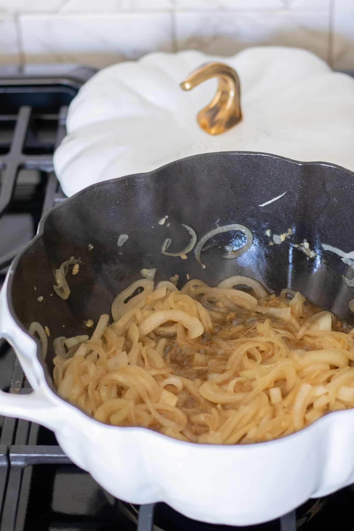 Sautéed onions in large pot