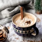 chai latte in snowflake mug
