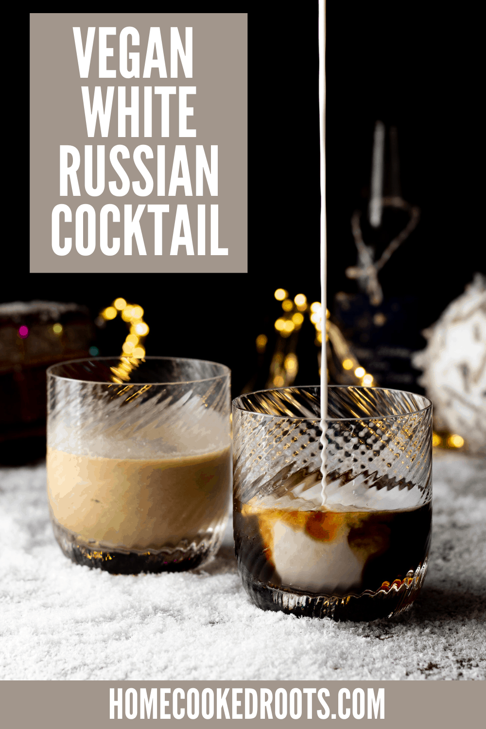 vegan white russian pinterest pin with text