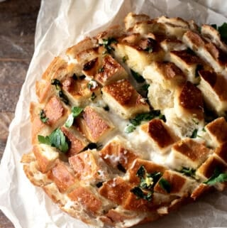 Bread After Baking Topped with Fresh Parsley