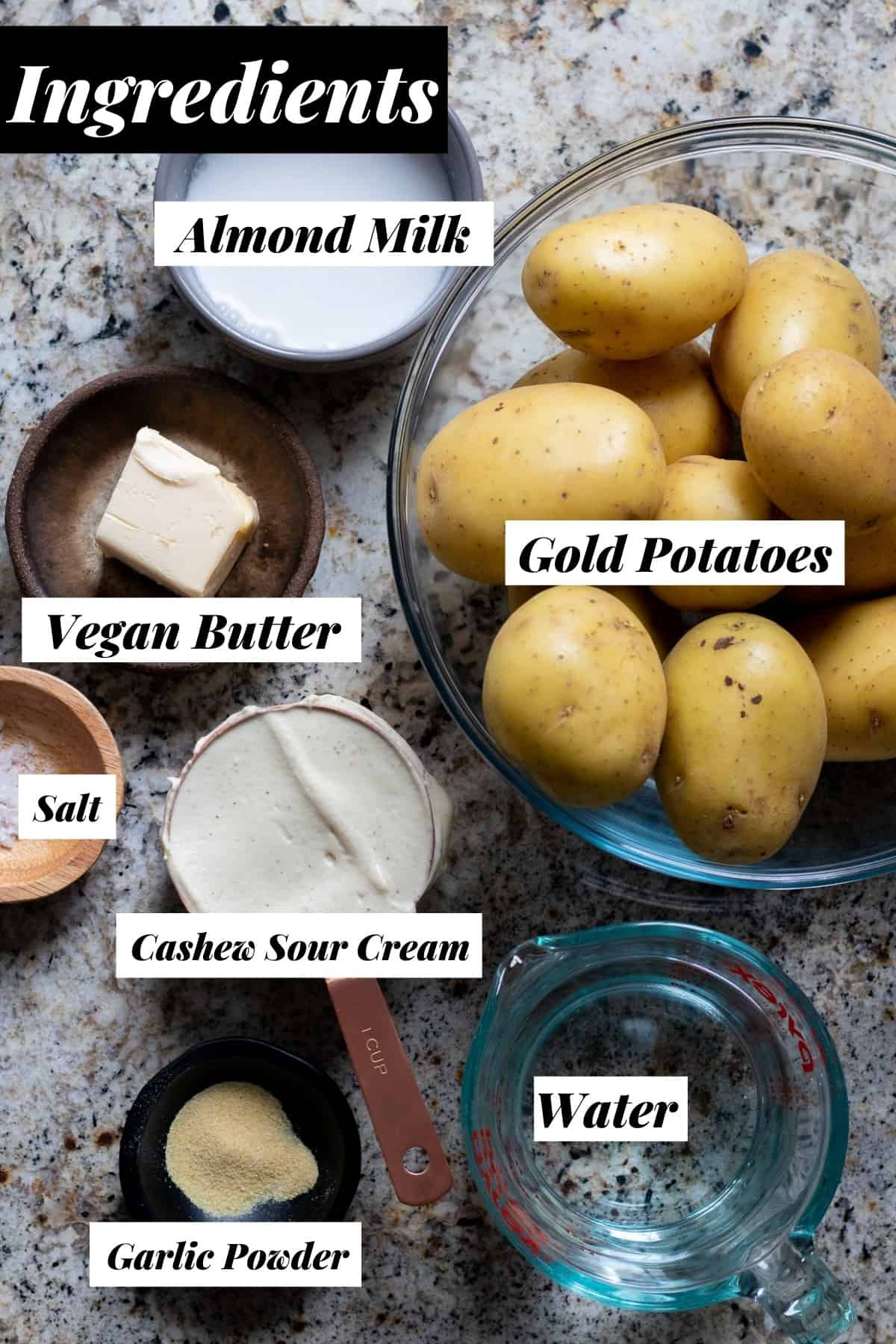 Recipe ingredients measured out into bowls with labels.