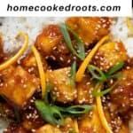 Vegan orange chicken closeup with overlay text describing recipe.