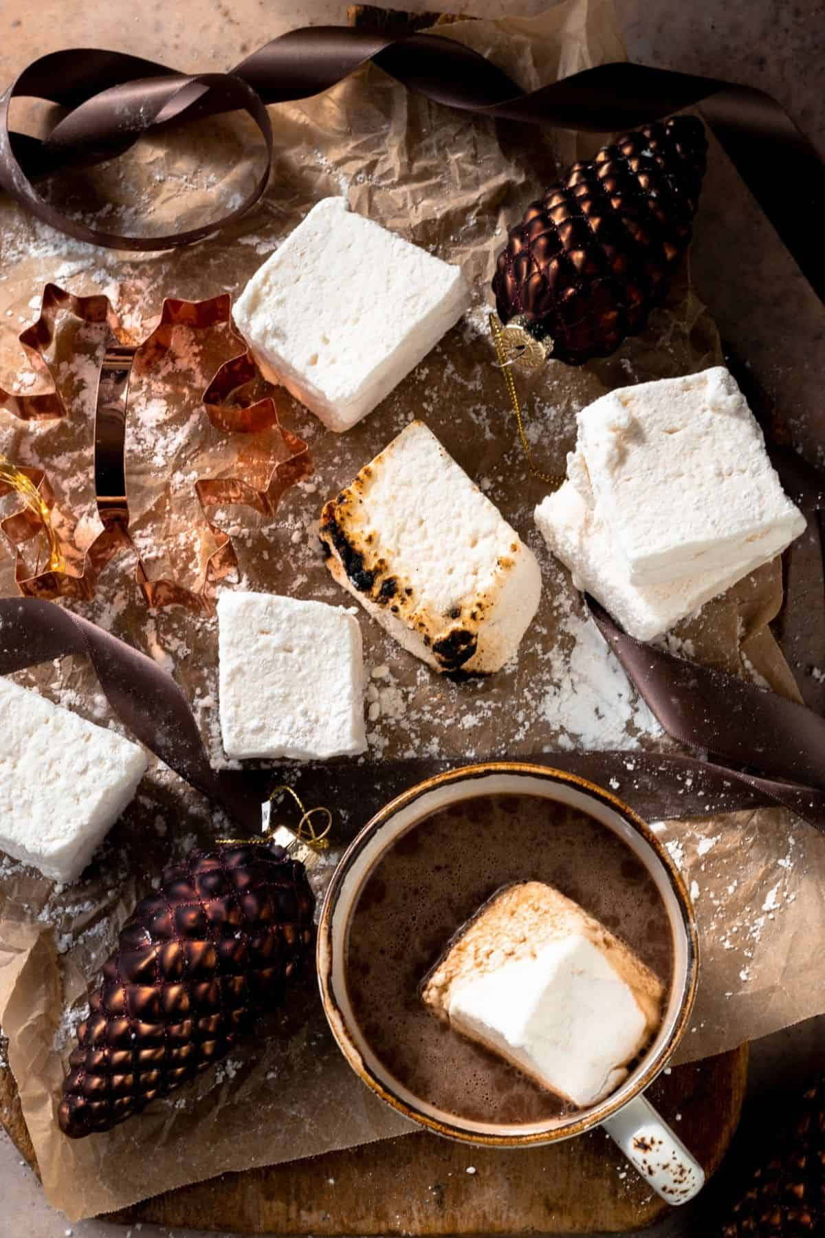 Homemade vegan marshmallows on parchment paper