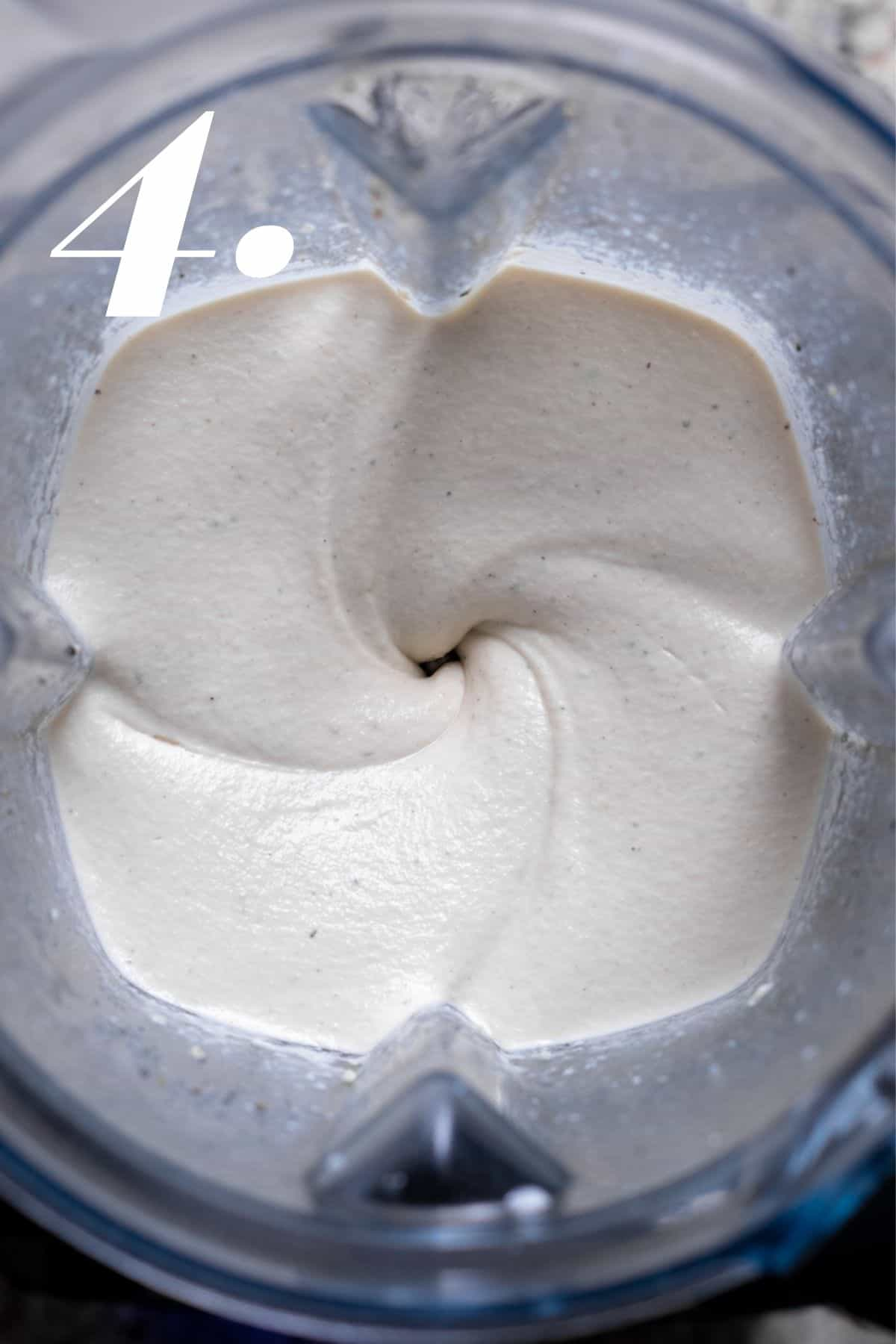 Cashew sour cream after blending for 2 minutes.