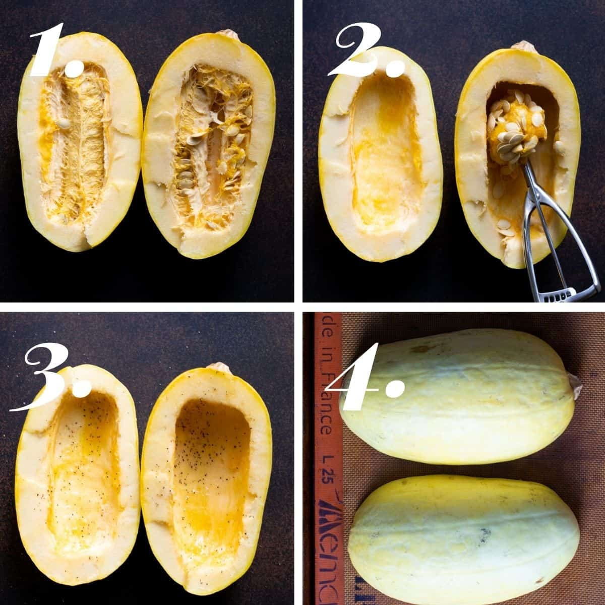 Steps showing how to prepare the spaghetti squash for roasting.