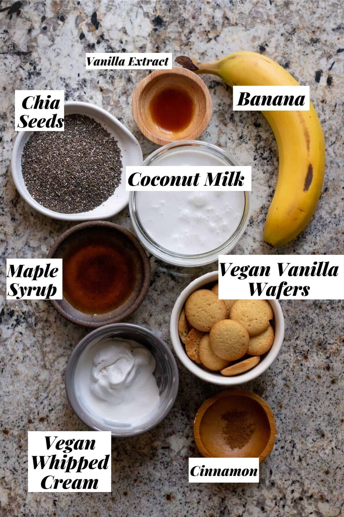 Banana pudding ingredients measured out and labeled.