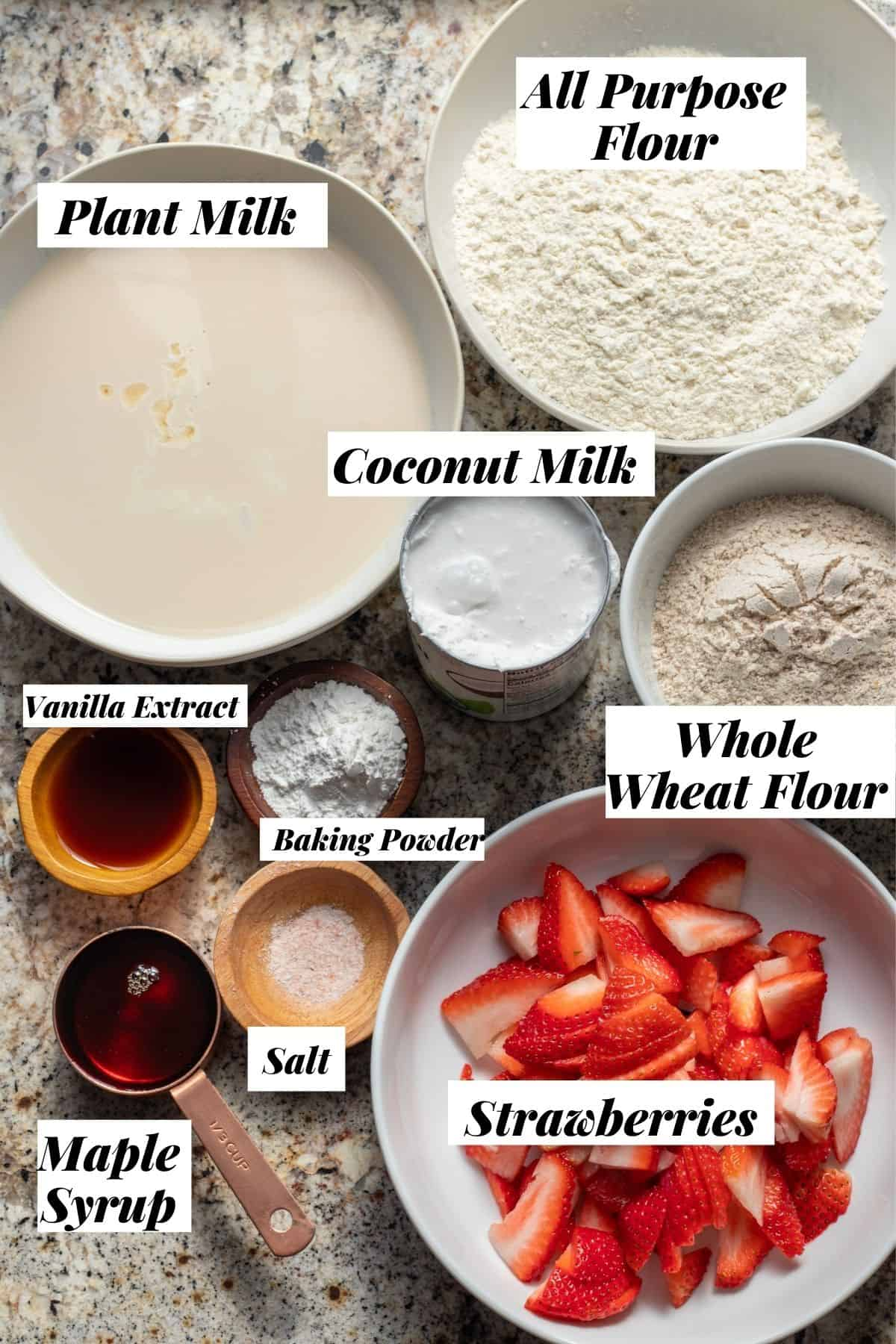 Ingredients needed for recipe with labels.