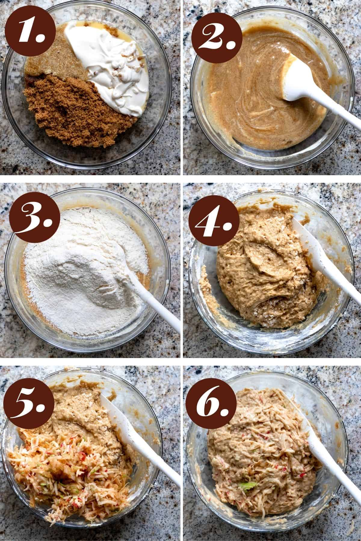 Six numbered photographs showing how to make the apple cake batter step by step.