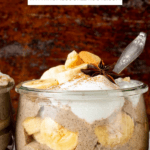 Banana pudding with overlay text describing recipe.