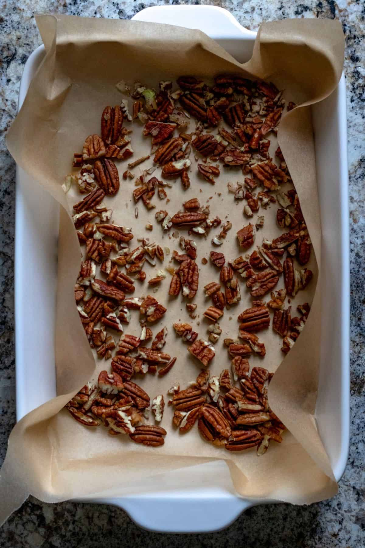 Chopped pecans in the bottom of a parchment lined baking dish.