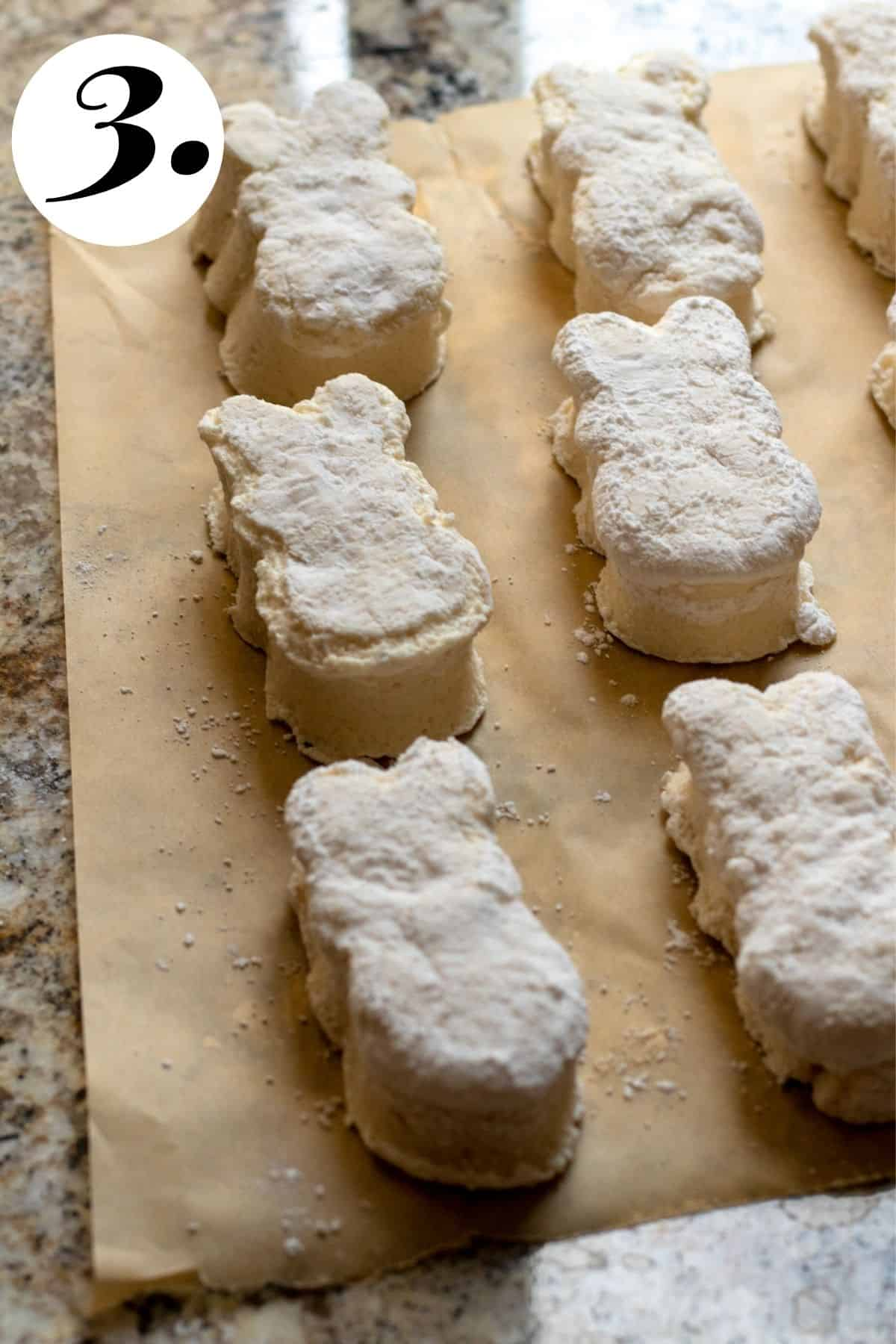 Peeps before being sugared on parchment paper.