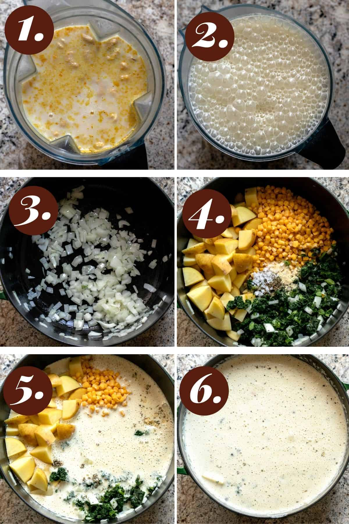 Step by step process of how to make chowder.