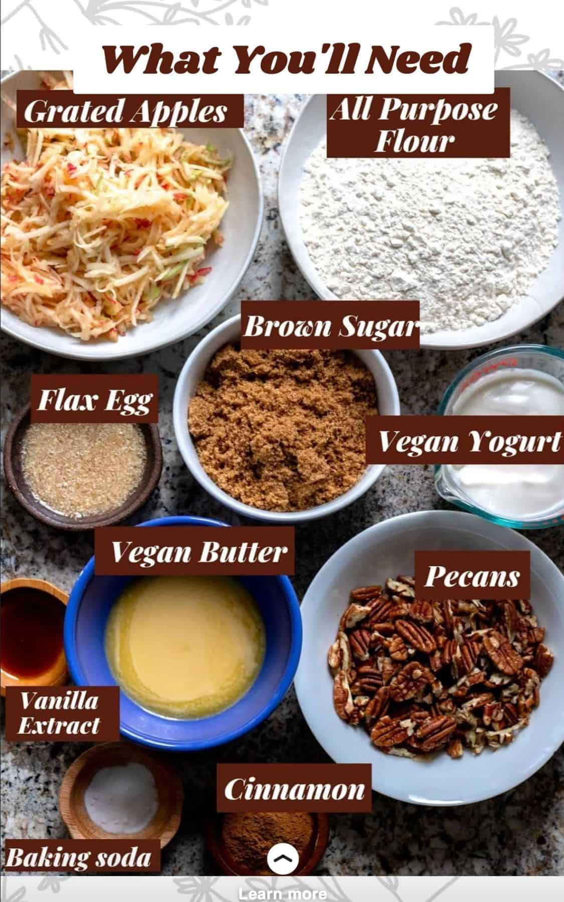 Ingredients for Apple Cake measured out into individual bowls.