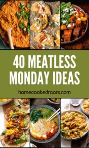 Meatless Monday Ideas Photo Collage with green banner.