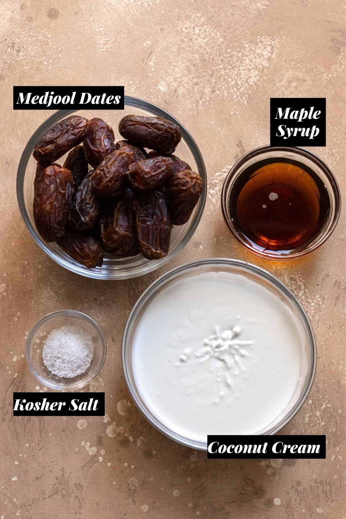 Ingredients needed measured into individual glass bowls.