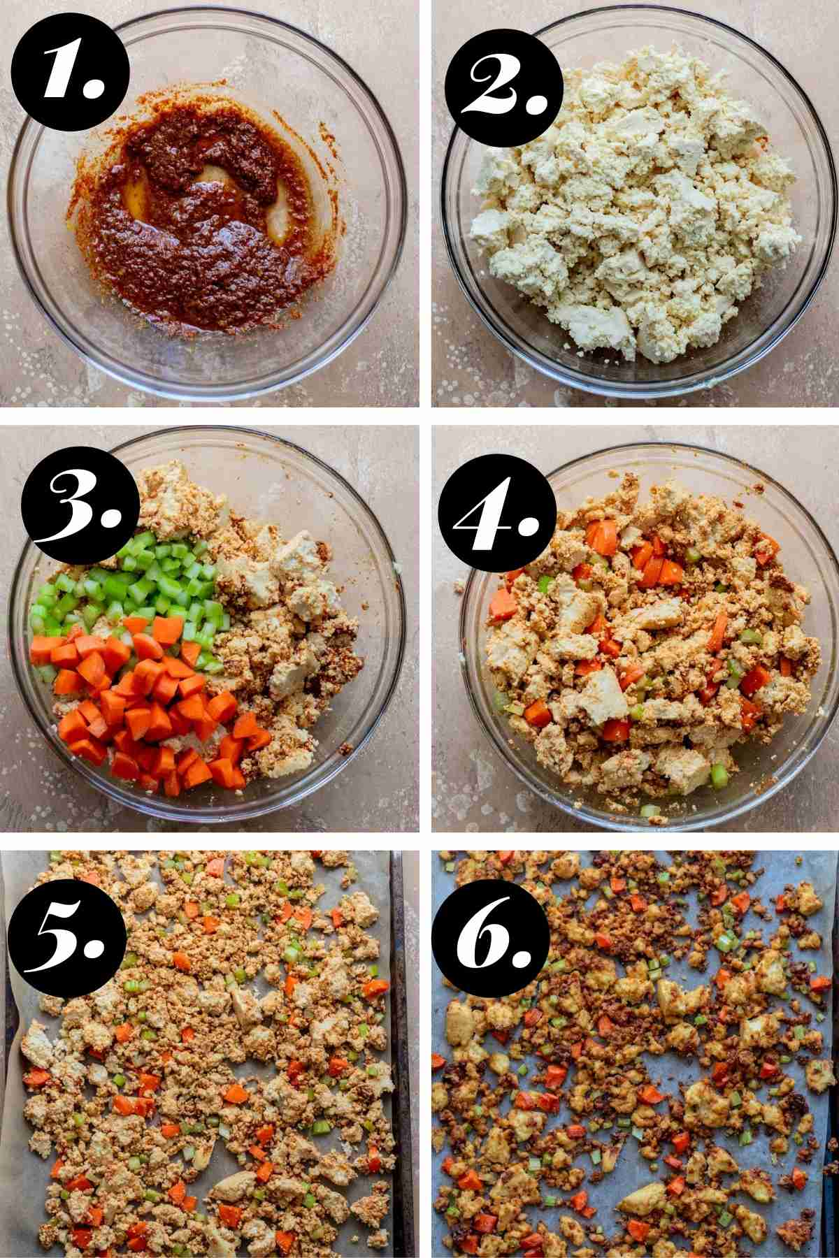 Step by step photos showing how to prepare the tofu to bake.