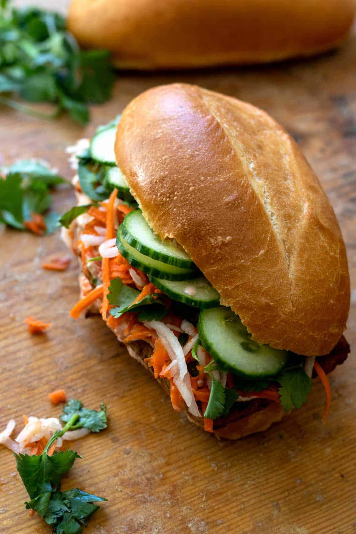 Closeup view of banh mi sandwiches.
