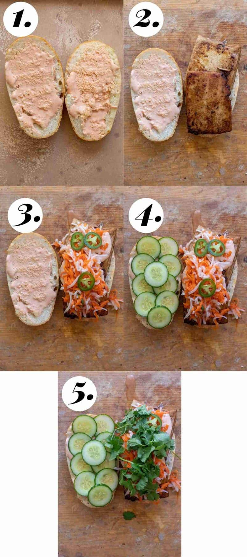 Step by step process of how to make sandwich.