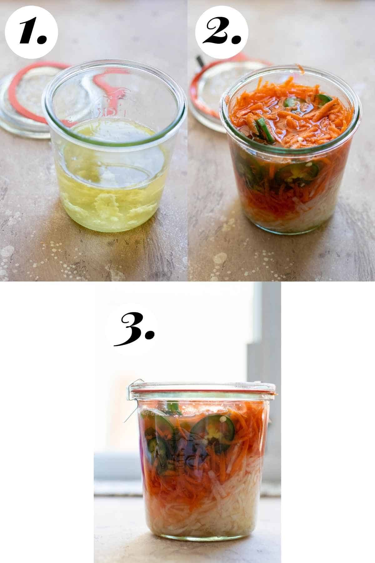 Step by step process of pickling the vegetables.