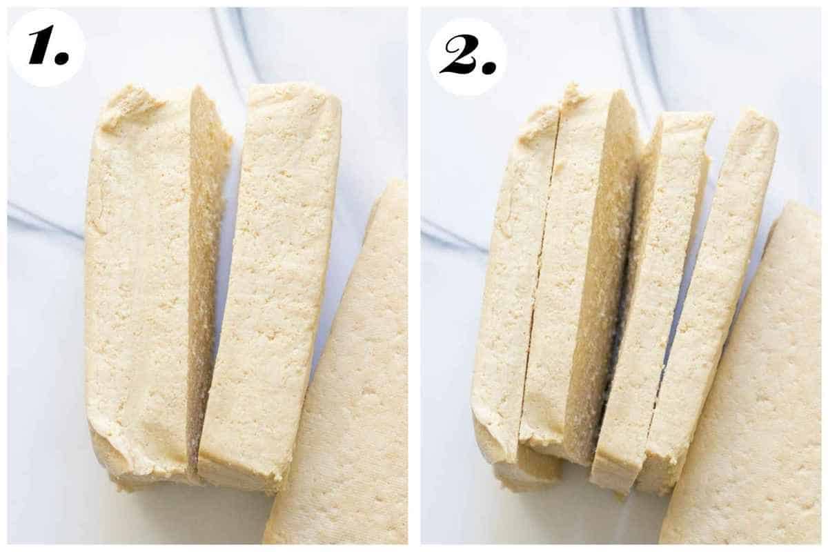 Step by step of how to slice the tofu to prepare for marinading.