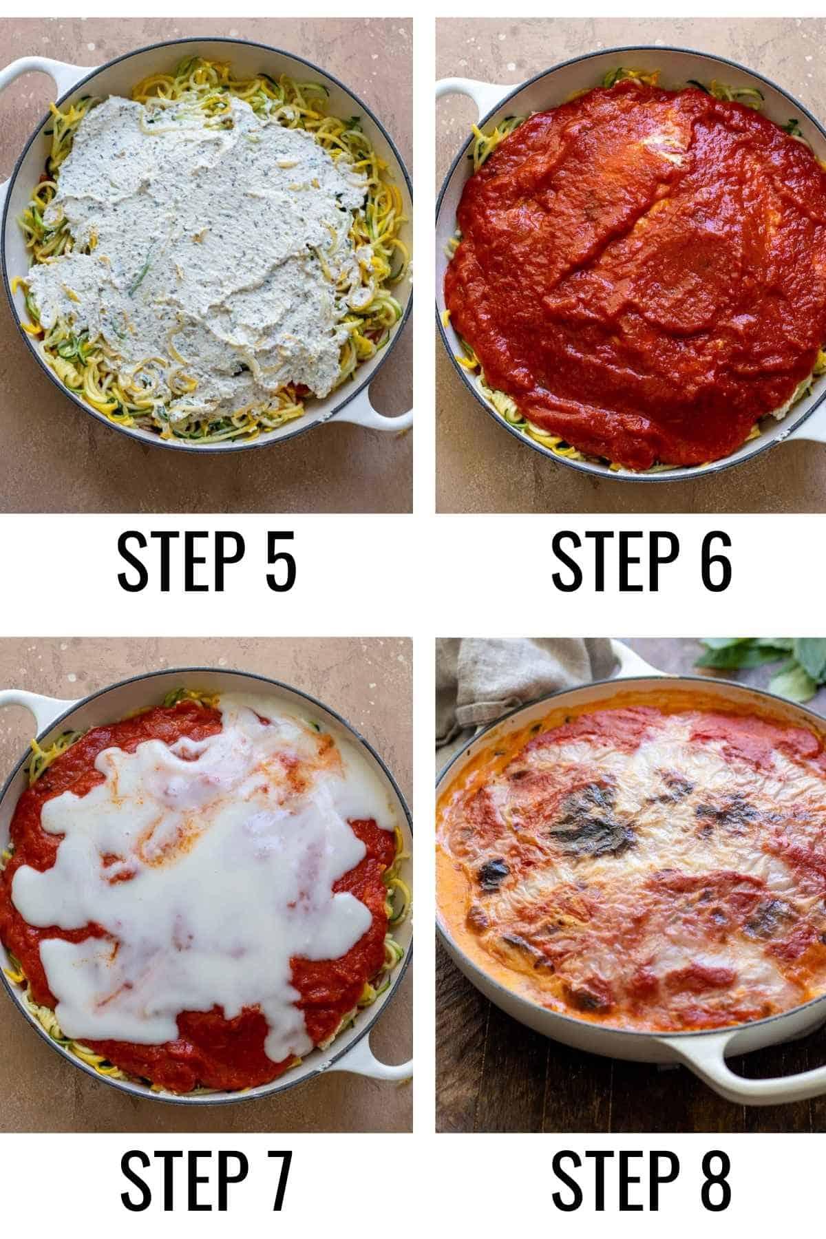 Step by step process of layering lasagna prior to baking.