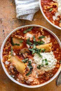 Closeup of bowl of lasagna soup.
