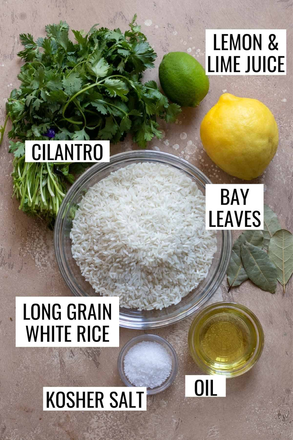 Ingredients needed to make cilantro lime rice.