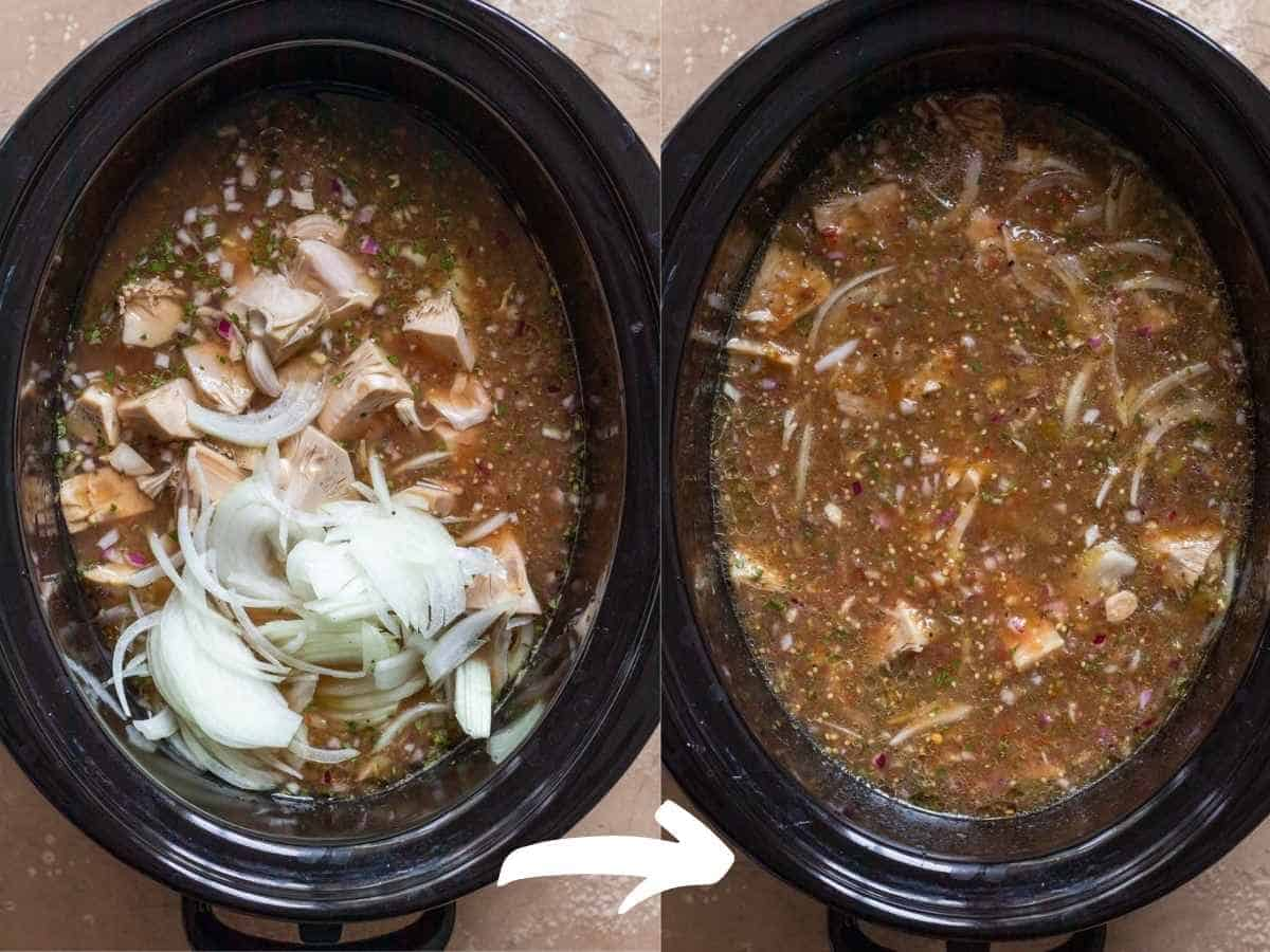To photos side by side showing stew ingredients added to slow cooker then stirred to combined.