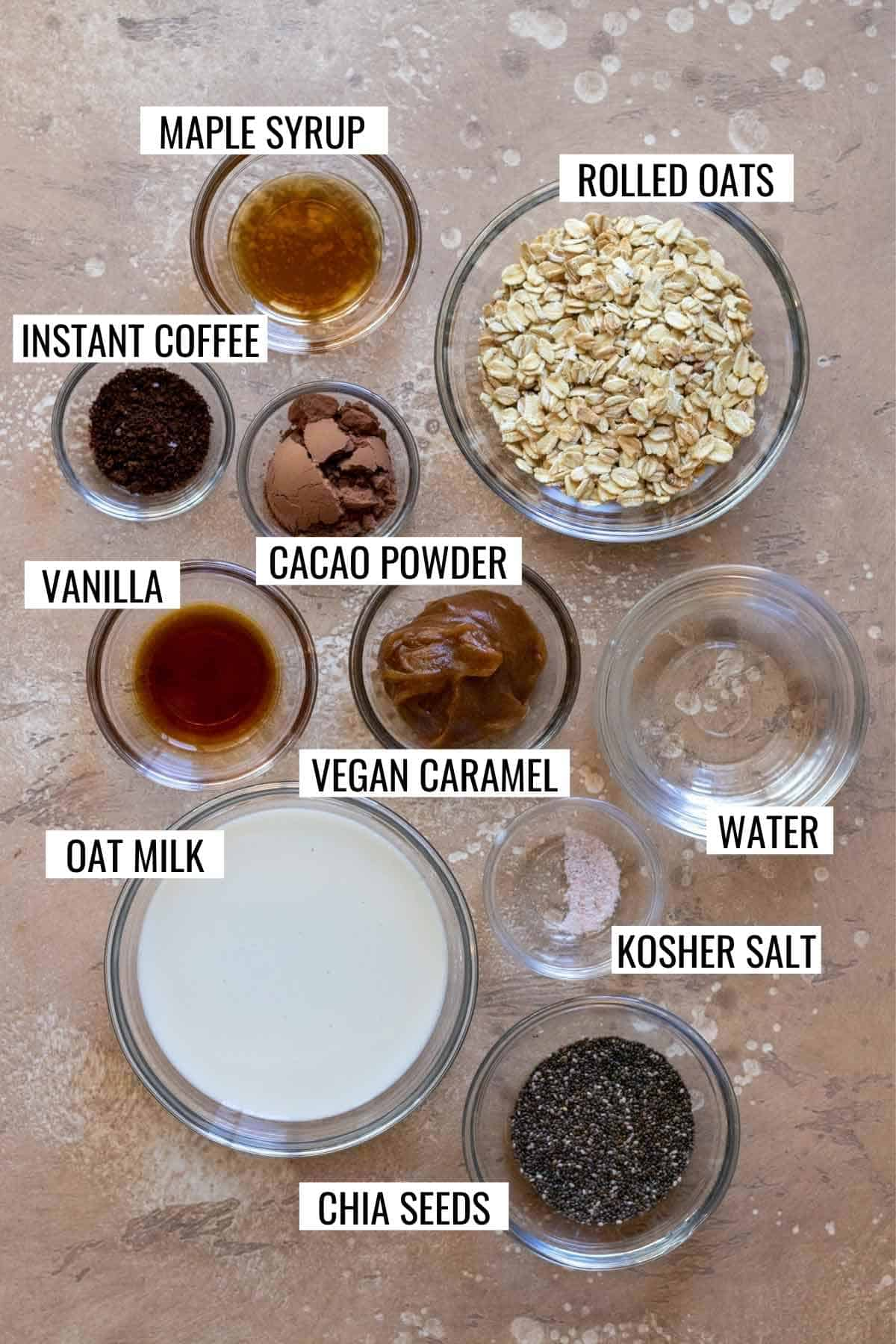 Ingredients needed to make recipe measured into individual bowls and labeled.