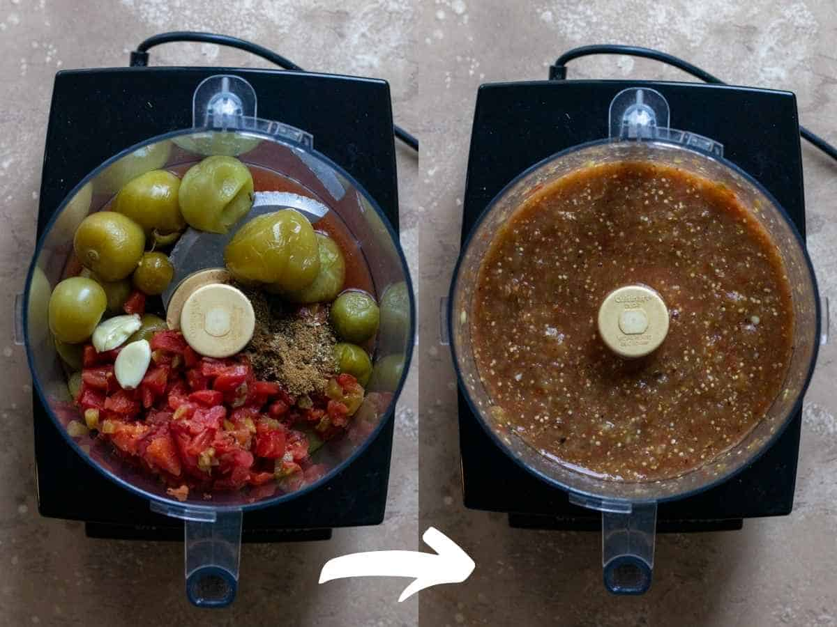 Salsa before and after pulsing in the food processor.