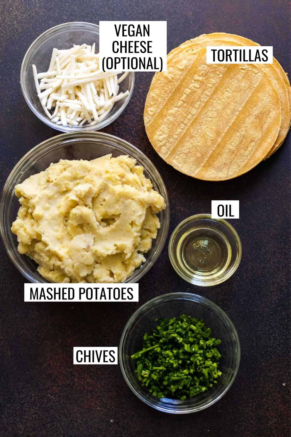 Ingredients needed to make potato tacos measured and labeled.
