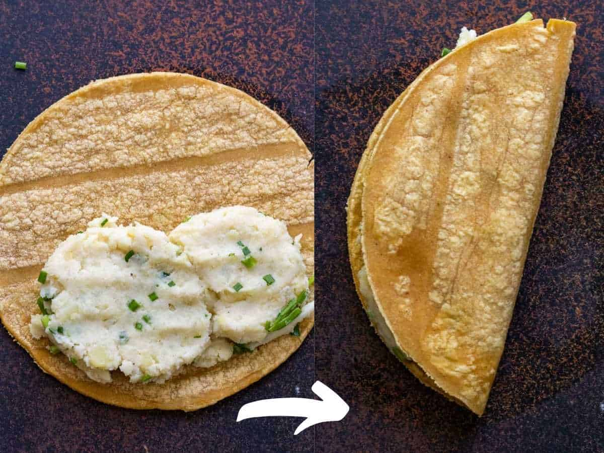 Two photos showing mashed potatoes added to taco, then folded in half.