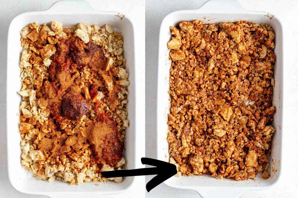 Taco meat before and after mixing the salsa, adobo sauce, and taco seasoning in.