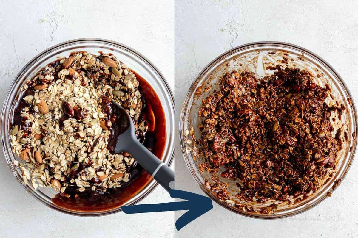 Two photos showing the wet ingredients being mixed into the dry ingredients.