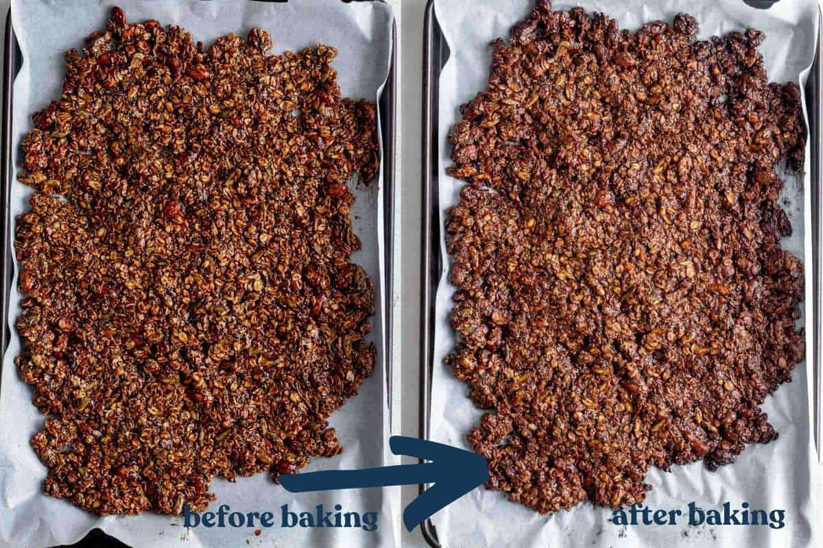 Two photos showing the granola before and after baking.