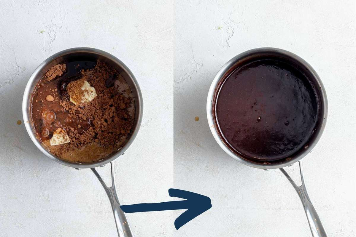 Two photos showing the wet ingredients added to a sauce pan and then after being melted.