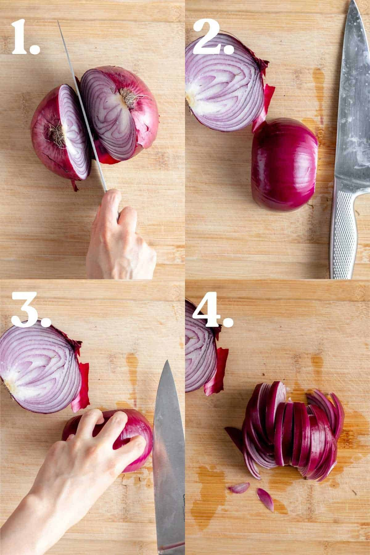 Step by step process showing how to slice an onion into strips.