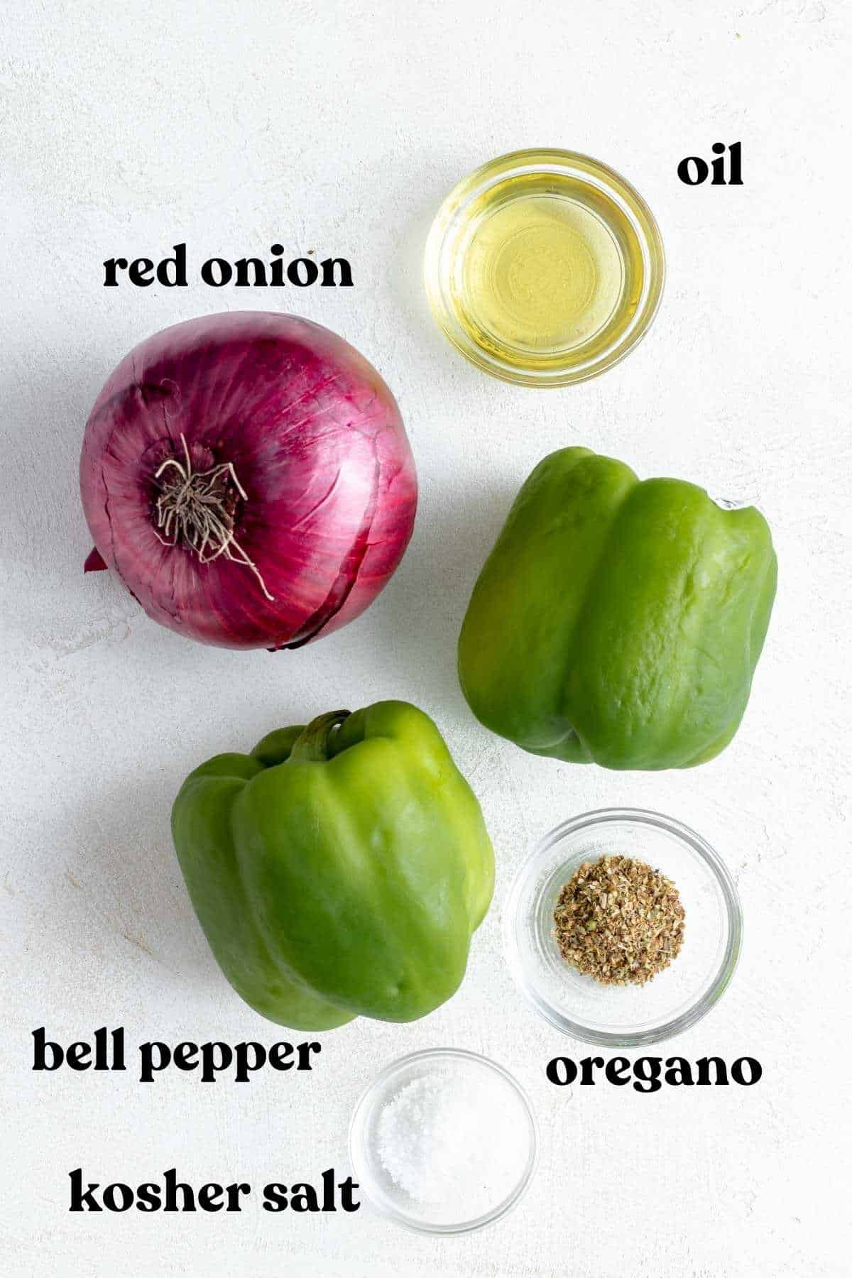 Red onion, oil, bell peppers, oregano and salt on white background.