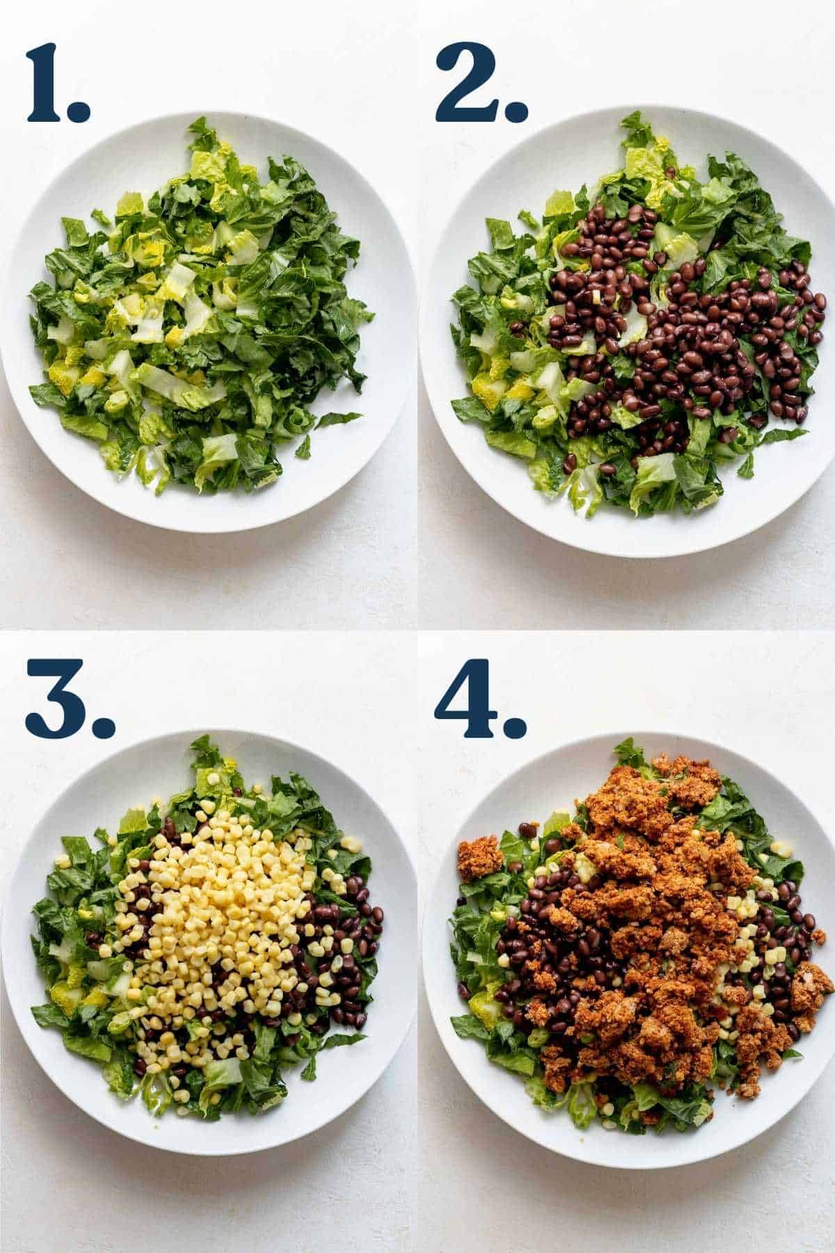 Step by step process of how to make the salad.