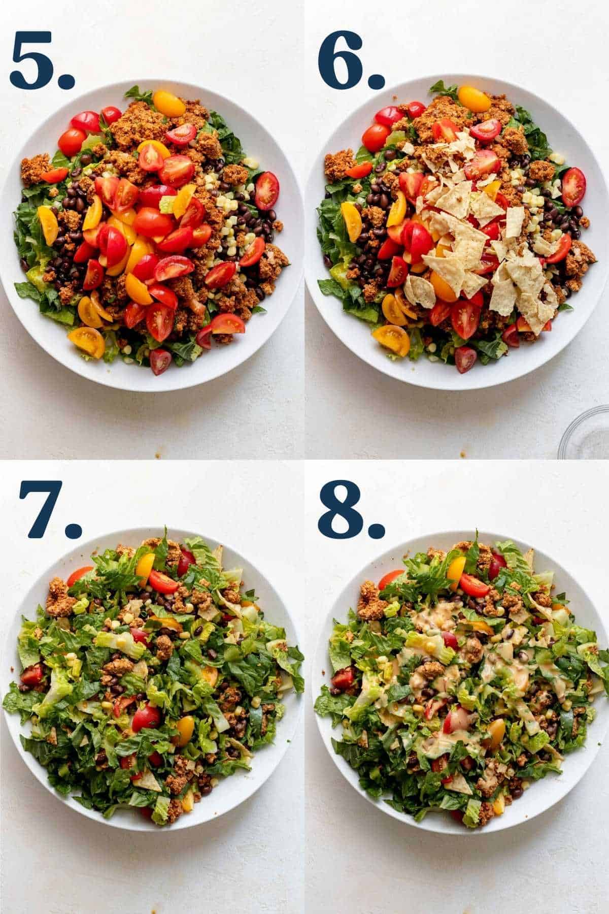 Step by step process of how to finish making the salad.