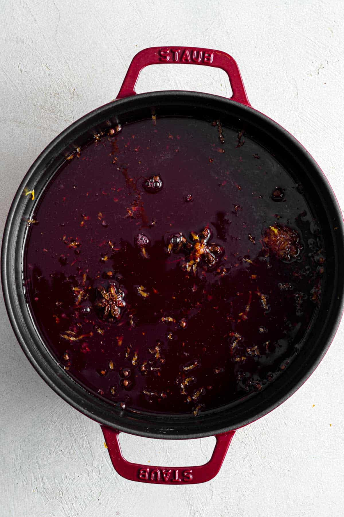 Mulled wine after simmering for 1 hour on stovetop.