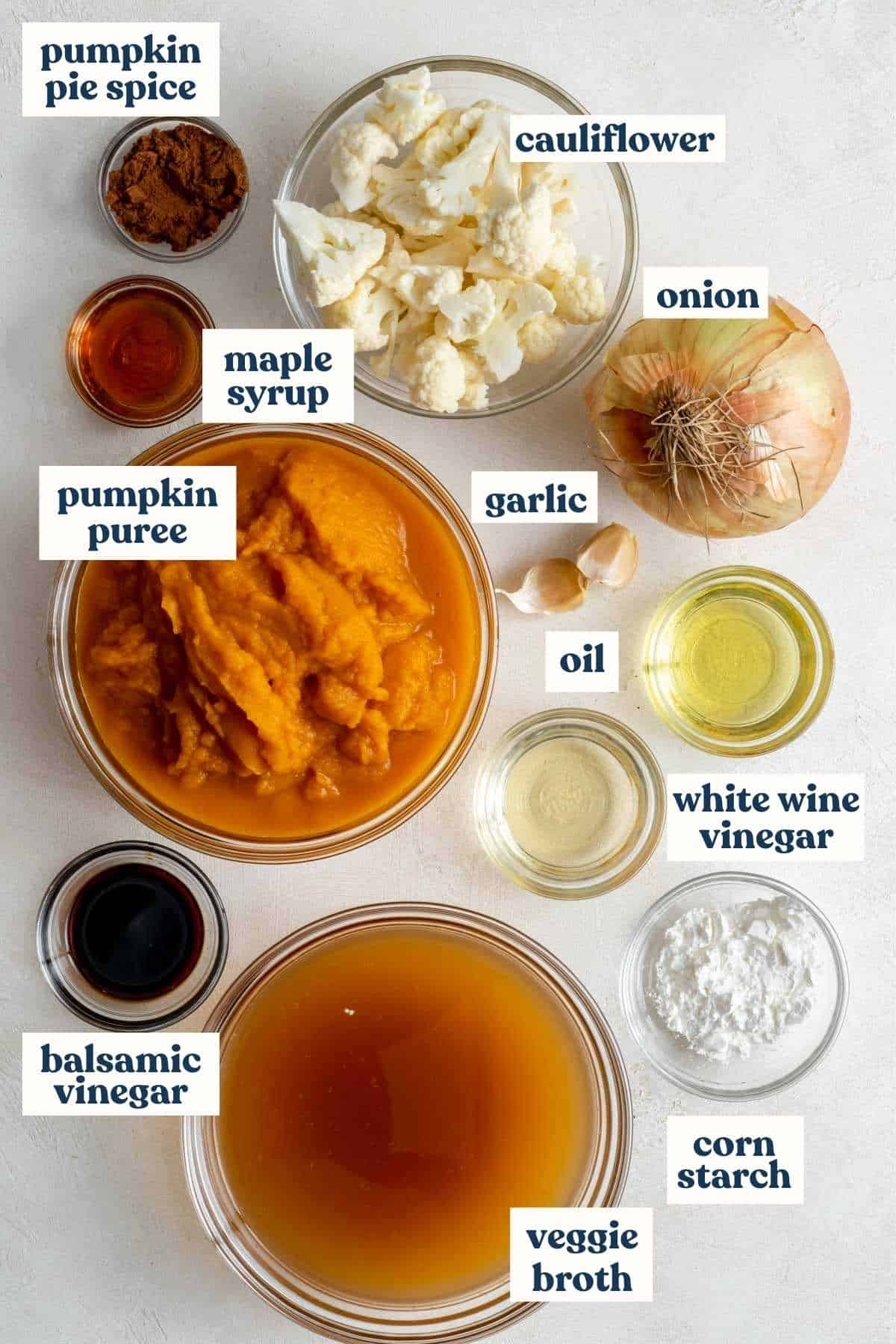 Soup ingredients pre-measured into bowls and labeled by ingredient.