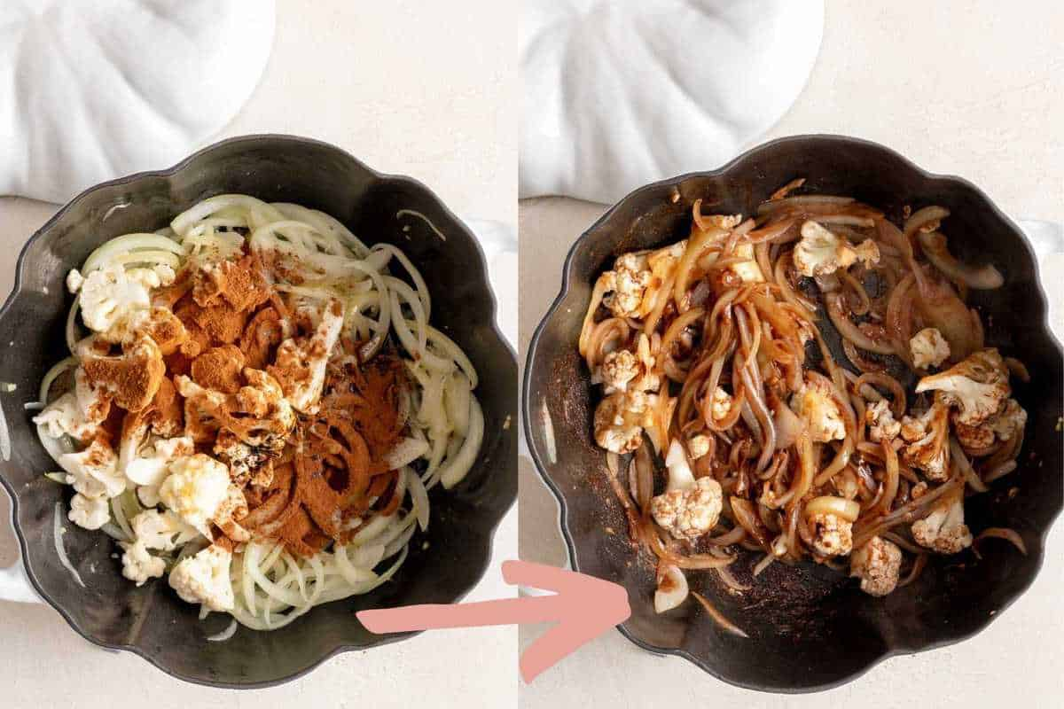 Before and after sautéing the spices, vinegars and cauliflower for 5 minutes.