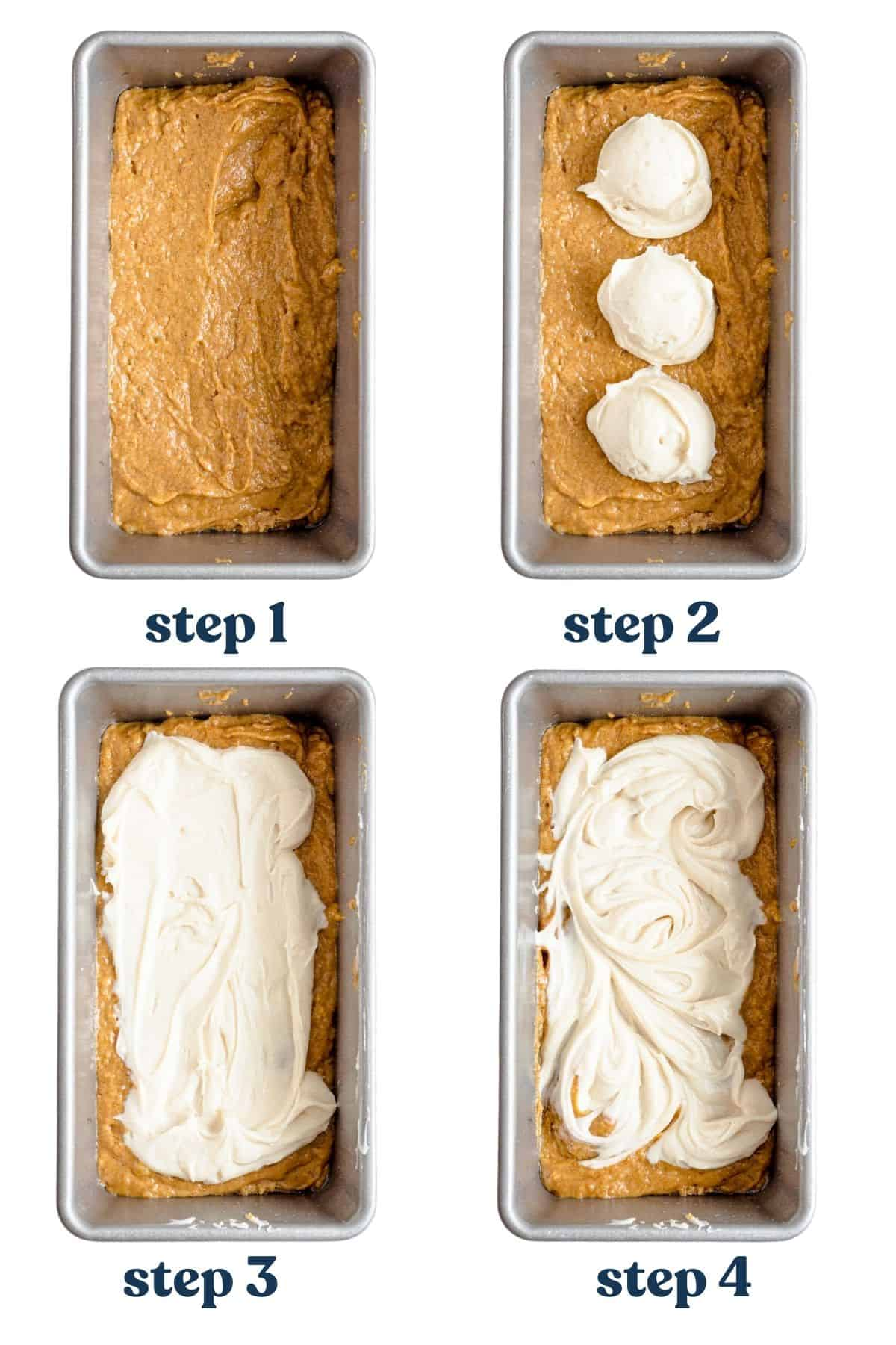 Step by step process of layering batter and cream cheese filling in loaf pan.